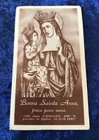 Vintage Antique 1942 Saint Anne Holy Prayer Card Catholic Religious Protection