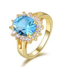 Fashion Size 6 Women's Band Aquamarine 18K Gold Filled Round Cut Wedding Ring