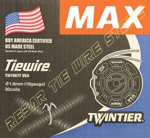 TW1061T USA MAX REBAR TIEWIRE For RB441T RB611T RB401T-E   - 30 Coils/CASE