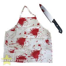Cuchillo + Delantal Sangriento Halloween Disfraz sangre salpicó Chef Cocinero Carnicero