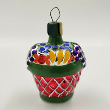 "Christmas Ornament ""Red Fruit Basket with Pattern"" vintage Decoration USSR"