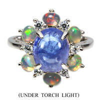 Unheated Oval Blue Tanzanite 10x8mm Fire Opal Cz 925 Sterling Silver Ring