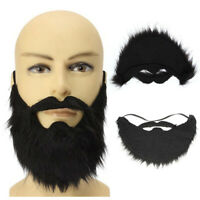 Cy_ Fake Beard Costume Party Mustache Black Halloween for Pirate Cosplay Code