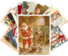 Postcards Pack [24 cards] Vintage Christmas Funny Happy Santa at Work CE5020