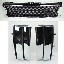 Range Rover 06-09 Mesh Chrome Blk Front Bumper Hood Grill w/ Side Fender Vents