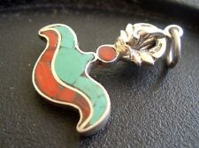 Tibetan Pendant w/ 925 Sterling Silver Inlaid Coral Turquoise KARTIKA Motif