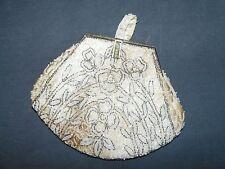 Porte monnaie Sac pochette tissu beige perles charme chic XIX XX siècle Ancien