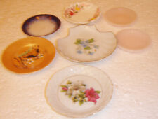 LOT OF 7 VINTAGE BUTTER PAT DISHES TEA BAG HOLDERS NICE COLLECTIBLES