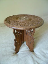 vintage indian hand carved wooden table inlay fold away