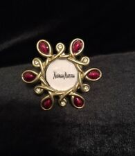Jay Strongwater Neiman Marcus Mini Picture Frame/Clip Red Enamel Crystal Gold Tn