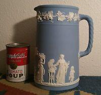 1901 WEDGWOOD milk pitcher jasperware antique english pottery vtg blue