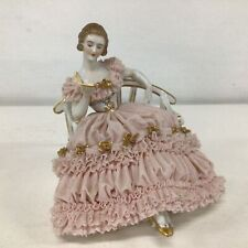 Porcelain Sitting Pink Lace Dress Lady Figurine # 404