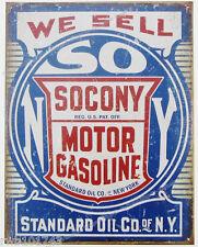 Socony Motor Gasoline TIN SIGN mobile metal vtg gas & oil garage wall decor 2000