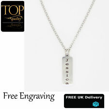 White Gold Bar Pendant Personalised Engraved Name Necklace Plated Chain Gift UK
