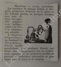Publicité Machine a glace Frigoria Omnium frigorifique  1932, advert