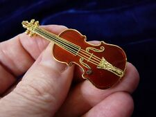 (M-14-A) Stradivarius violin pin brooch 24k gold plate Jewelry Messiah Master
