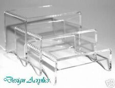 3 SET CLEAR ACRYLIC DISPLAY STANDS RISERS PLINTHS 80mm