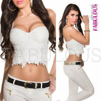 Sexy Women's Crochet Corsage Style Top Party Clubbing Evening Size 6 8 10 XS S M