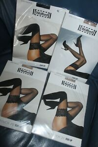 4 PAIRS WOLFORD SATIN TOUCH 20 STAY UP STOCKINGS SIZE MEDIUM COSMETIC&BLACK