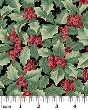 CHICKADEES & BERRIES HOLLY CHRISTMAS FABRIC METALLIC