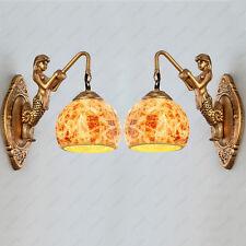 2pcs Retro 5W LED Wall Sconce Light Fixture Mermaid Lamp E27 Bulb Bedroom Aisle