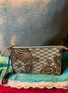 Michael Kors Daniela Paisley Brown Multi Coated Canvas Credit Card Zip Wristlet
