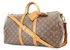 Authentic LOUIS VUITTON Keepall Bandouliere 45 Monogram Canvas Duffel Bag #37398
