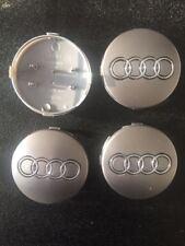 4 Tappi Audi Coprimozzo grigio Logo 60 mm per cerchi in lega
