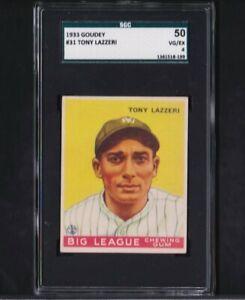 1933 Goudey #31 Tony Lazzeri Yankees Vg-Ex SGC 4