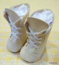 "IVORY Lace-Up Tall DOLL BOOTS SHOES fits American Girl 14.5"" WELLIE WISHERS"