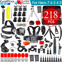 Accessories Pack Case Chest Head Floating Monopod GoPro Hero 7 6 5 4 3+ 2 218pcs