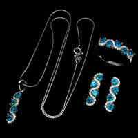 Paraiba Blue Apatite Round 3mm Cz 925 Sterling Silver Ring Earrings Necklace