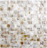 Muschelmosaik Perlmutt Mosaik hellbeige Küche Fliesenspiegel 150-SM203  10Matten