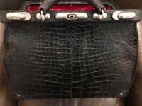 Doctor's Bag Large Antique Black Alligator Red Leather Interior
