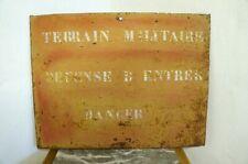 More details for original french military land metal sign man cave danger no entry gift mens