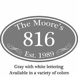 """Personalized Family Name Home Address Sign Custom Aluminum 12"""" x 7"""" Plaque"""