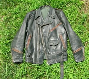 WW2 German Luftwaffe style green  leather jacket  sz 36 Small