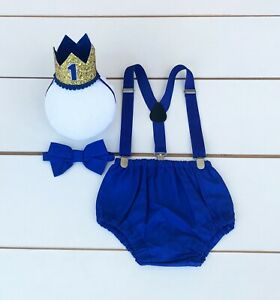 4 Piece Royal Blue & Gold Cake Smash Outfit - First Birthday Set - Baby Boy
