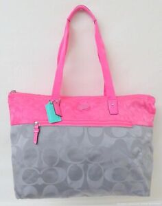 Coach Signature Pink & Grey Nylon Packable Travel Tote Bag