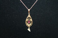 Antique 10K Yellow Gold Purple Amethyst Seed Pearl Lavalier Pendant Necklace