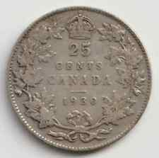 1930 Canada 25 Cents Quarter Dollar Silver Coin - King George V