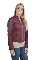 Women's Juniors Fashionable Faux Leather Moto Biker Jacket with Pockets