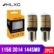 2PCS 1156 144SMD BA15S P21W LED Turn Signal Lights Bulb Canbus Amber/Yellow 12V