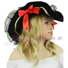 Pirate Hat Fancy Dress Ladies Buccaneer Caribbean Captain Wench Women Black Lady