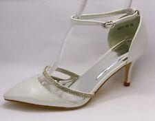 Zapatos de Tacón Elegantes Novia Blanco Con Plateadas Shimmer Y Brillo 6324 35