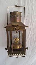 "Antique Style Hanging Brass Ship Cargo Light,Kerosene Lamp,Great Britain 15"" T"
