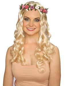 Floral Fairy Blonde Princess Fairytale Women Costume Wig & Wreath