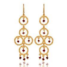 Gemstone Ruby Dangle Earrings 18K Gold Over 925 Silver Wedding Jewelry
