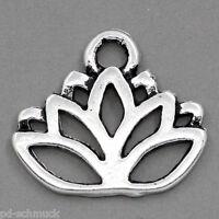 P/D: 50 älter Silber Blume Flower Charms Anhänger 17x14mm