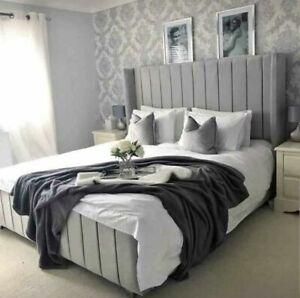 WINGED PANEL LUXURY VELVET UPHOLSTERED BED FRAME - 3ft/4'6ft/5ft/6ft -MADE IN UK